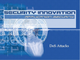 DoS Attacks - Florida Tech Tracks Authentication