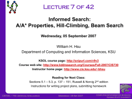 CIS730-Lecture-07-20070905 - Kansas State University