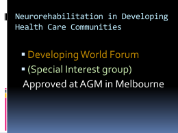 Neurorehabilitation in Developing Health Care …