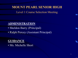 MOUNT PEARL NIGHT SENIOR HIGH Level 1 Course …