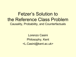Fetzer's Solution to the Reference Class Problem Causality