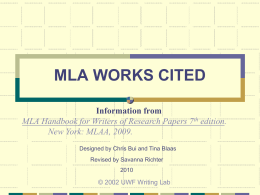 MLA Guidelines for Citing Online Sources