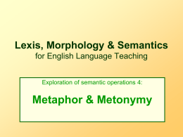 Lexis, Morphology & Semantics for English Language …