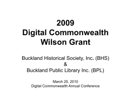 Digital Commonwealth Wilson Grant