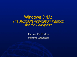 Microsoft Application Platform for the Enterprise