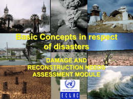 SUBJECT 1. Basic Concepts in respect of disasters DAMAGE