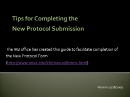 Tips for Completing the New Protocol Form