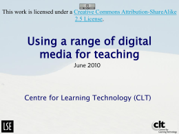 Using a range of digital media for teaching
