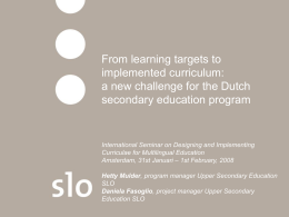 New benchmarked standards in Dutch upper secondary