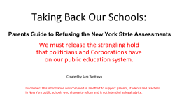 Taking Back Our Schools: