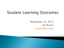 Student Learning Outcomes - University of Nevada, Reno