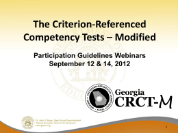 Participating in the CRCT-M 2012