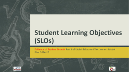 Student Learning Objectives(SLOs)