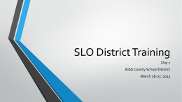 SLO District Training