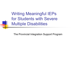 Writing Meaningful IEPs for Students with Severe Multiple