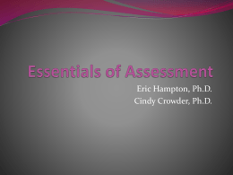 Essentials of Assessment - Indiana State University