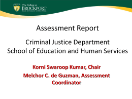 Assessment Report Department School of Education & …