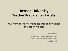Towson University Teacher Preparation Faculty Overview …