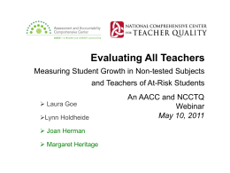 Evaluating All Teachers: Measuring Student Growth in