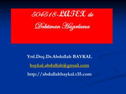 Slayt 1 - Dr.Abdullah BAYKAL