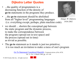 Dijkstra Quotes - University of Delaware