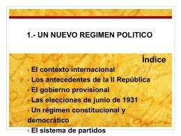 1.- UN NUEVO REGIMEN POLITICO