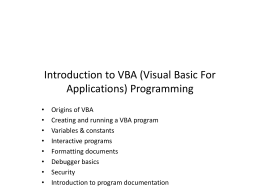 VBA: Part I