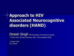 Detecting Early HIV Associated Neurocognitive disorders …