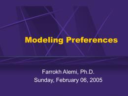 Modeling Preferences