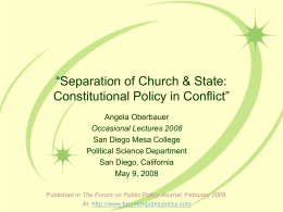 Separation of Church & State: Constitutional Policy in