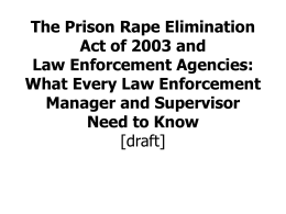The Prison Rape Elimination Act of 2003 and Law