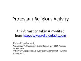 Protestant Religions Activity