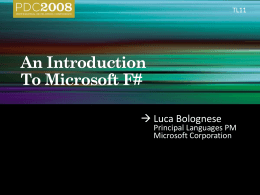 TL11 – An Introduction to Microsoft F#