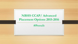 NBHS CCAP/ Advanced Placement Options 2015-2016