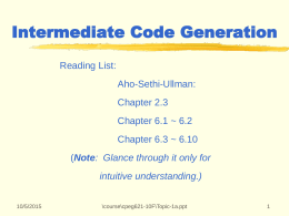 Topic I: Fundamentals in Code Generation