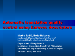 Automatic translation quality control using Eurovoc