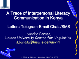 A Trace of Interpersonal Literacy Communication in Kenya