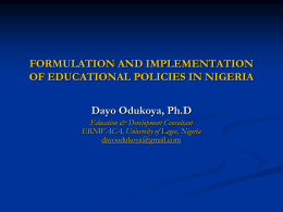 FORMULATION AND IMPLEMENTATION OF …
