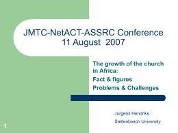 EVANGELISM IN AFRICA - Stellenbosch University