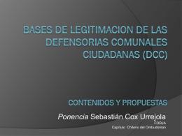 BASES DE LEGITIMACION DE LAS DEFENSORIAS …