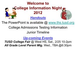 Testing 101 - Torrance High School