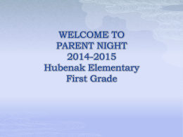 WELCOME TO PARENT NIGHT 2009