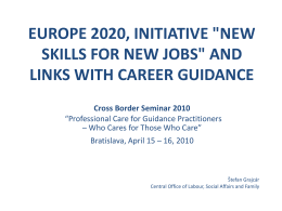 EUROPE 2020, INITIATIVE 'NEW SKILLS FOR NEW JOBS' …