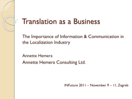 Translation as a Business