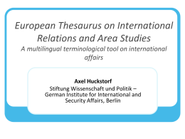 European Thesaurus on International Relations and …