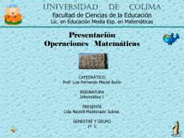 Universidad de Colima Facultad de Ciencias de la
