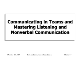 Communicating in Teams and Mastering Listening and