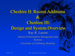 CHESHIRE II - University of California, Berkeley