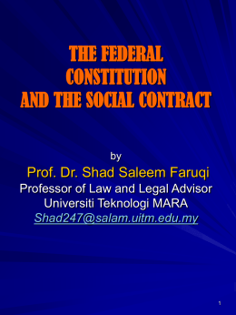THE FEDERAL CONSTITUTION AND THE SOCIAL …