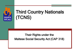 TCN's-Their Rights under the Maltese Social Security Act